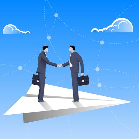 pacto: El volar en concepto de negocio avión de papel. hombres de negocios confía en traje de negocios apretón de manos entre sí que vuelan en el avión de papel. Acuerdo, convenio, la unidad, pacto, contrato, tratado.