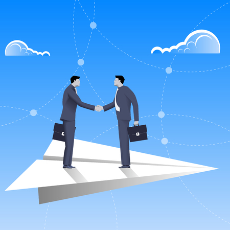 Flying on paper plane business concept. Confident businessmen in business suit shaking each other hands flying on paper plane. Deal, agreement, unity, pact, contract, treaty.