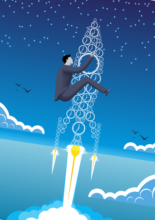 Power of time business concept. Confident businessman in business suit with flying up the rocket made of clocks. Power of time, time to success conversion. Illustration