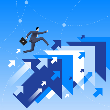 Running up to success business concept. Confident businessman in business suit with case in his hand running up jumping from one flying arrow to another. Successful career, successful investment.
