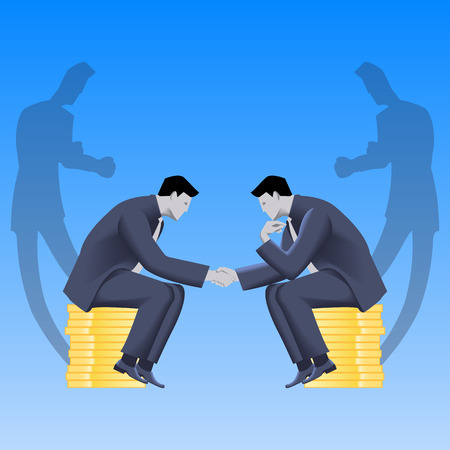 lair: Tough negotiations business concept. Confident businessmen sitting on stacks of gold coins and shaking each other hands, but their shadows are ready to fight. Illustration