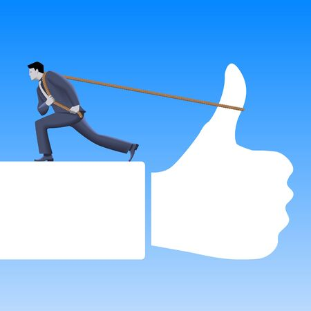 raise the thumb: Working hard to meet expectations business concept. Confident businessman in business suit pushing hard the rope connected to thumb raised in a sign of approval. Positive response