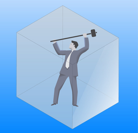 solver: Breaking the glass cube business concept. Confident businessman in business suit with sledgehammer is going to break the glass cube around him. Searching for opportunities, looking for solution.