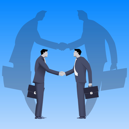 Global deal business concept. Confident businessmen in business suit shaking each other hands standing on earth globe. Deal, agreement, unity, pact, contract, treaty.