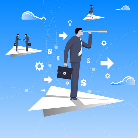 Flying on paper plane business concept. Confident businessman in business suit with case and looking glass flying on paper plane. Searching for opportunities, looking for solution.