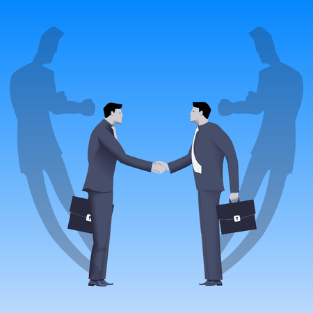lair: Tough negotiations business concept. Confident businessmen standing opposite each other and shaking each other hands, but their shadows are ready to fight. Illustration