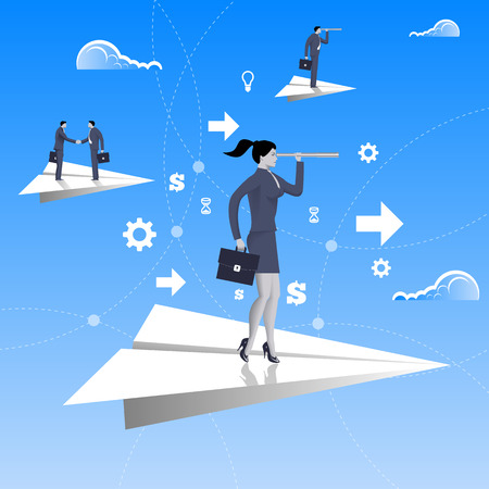 Flying on paper plane business concept. Confident business woman in business suit with case and looking glass flying on paper plane. Searching for opportunities, looking for solution. Illustration