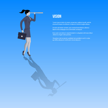 Vision business template. Confident business woman in business suit with case and looking glass searching for new opportunities. Vector illustration. Illustration