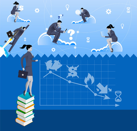 Power of knowledge concept. Pensive business woman in business suit with case standing on pile of books looking over the fence where business people are flying on the clouds
