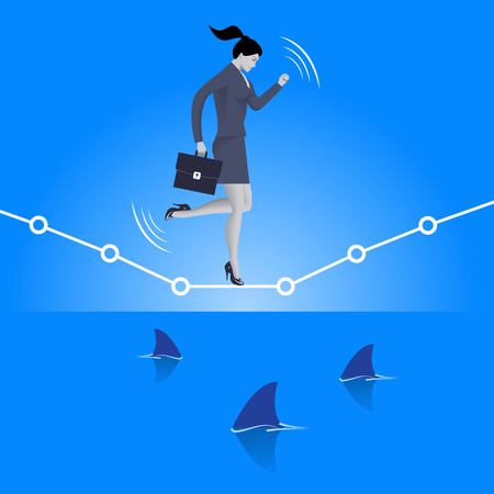high sea: Balancing over dangerous water business concept. Confident business woman in suit with case balancing on graph over the sea full of shark fins. High concurrent business. Illustration