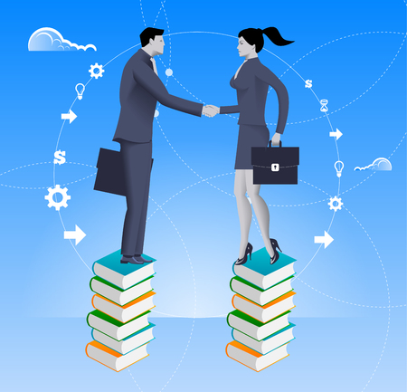 common target: Partnership based on knowledge business concept. Businessmen and business woman standing on book piles and shaking each other hands. Concept of deal, benefit, common ground, contract, agreement. Illustration