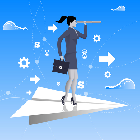 looking glass: Flying on paper plane business concept. Confident business woman in business suit with case and looking glass flying on paper plane. Searching for opportunities, looking for solution. Illustration
