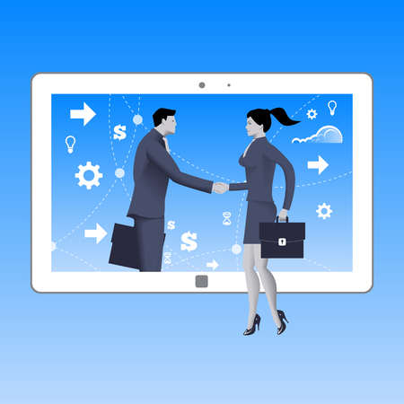 Internet deal business concept. Confident business woman shakes hand of businessman that comes from tablet. Business in web or cloud, partnership, searching for opportunities