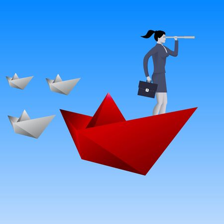 Leading the fleet business concept. Confident business woman in business suit with case and looking glass swimming on red paper boat in sea in front of paper boats fleet. Vector illustration.