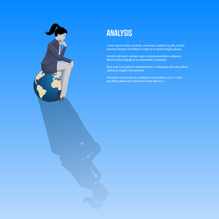 Analysis business template. Pensive business woman in business suit sitting on the globe and thinking. Vector illustration.