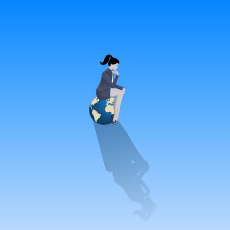 Loneliness on Olymp business concept. Pensive business woman in business suit sitting on the top of earth glove alone with only space around her. Isolation, responsibility, decision consequences. Illustration