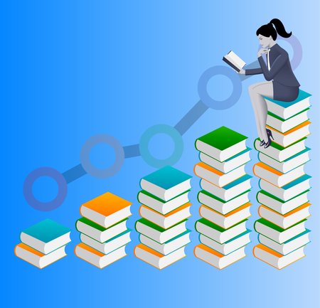 Power of knowledge business concept. Confident business woman in suit read book sitting on top of book stack. On background rising graph goes up proportionally to the number of books read