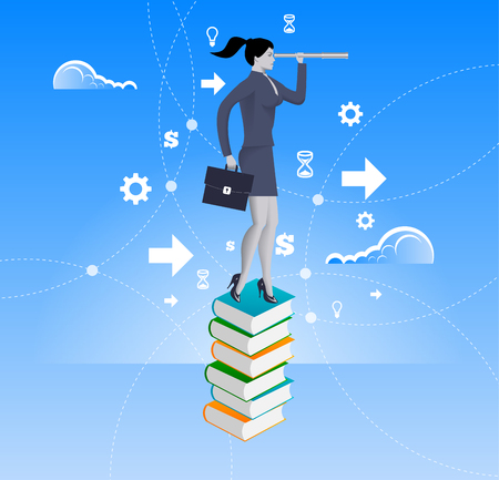 new opportunity: Power of knowledge business concept. Confident business woman in suit with case stand on top of book pile with looking glass. Search for opportunity, contacts, new fields, development.