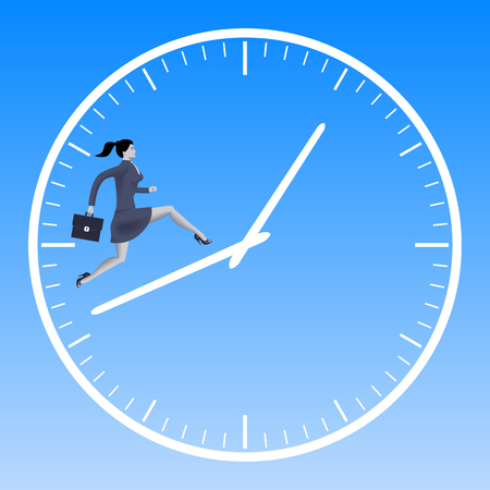 woman handle success: Running up the clock handles business concept. Confident business woman in suit with case running up the clock handles. High speed business, time to success conversion