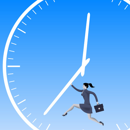 woman handle success: Speed up the process business concept. Confident business woman in business suit with case runs pushing the clock handles. Vector illustration. Illustration
