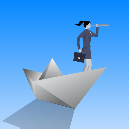 Swimming on paper boat business concept. Confident business woman in business suit with case and looking glass swimming on paper boat. Searching for opportunities, looking for solution.