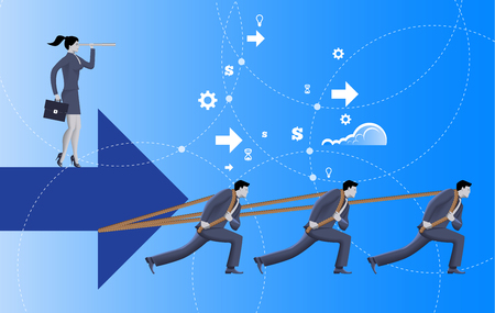 Team with vision business concept. Three confident businessmen in suits pull big arrow with business woman on top of it with case and looking glass. Team, teamwork, vision, prediction, plan.