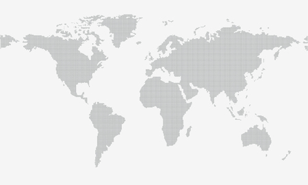 eurasia: Dotted map isolated on grey background with resolution 5000x2500 dots and all major earth continents - Eurasia, North and South America, Africa, Australia. Illustration