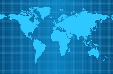 地球グリッドとすべての主要な地球の大陸 - ユーラシア、北および南アメリカ、アフリカ、オーストラリアの青のグラデーションの背景地図