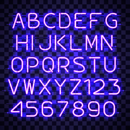 Glowing blue Neon Alphabet with letters from A to Z and digits from 0 to 9 on transparent background. Glowing neon effect. Every letter is separate unit with wires, tubes, brackets and holders.