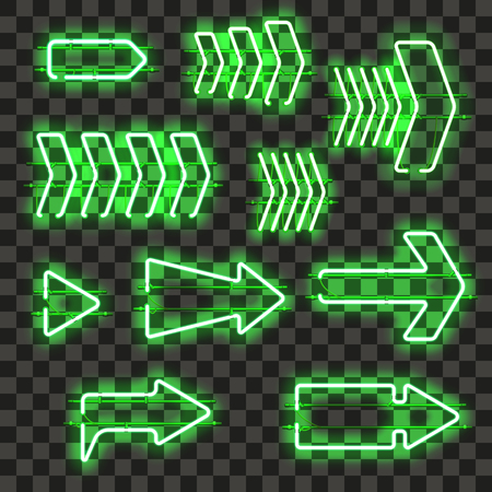 Set of glowing green neon arrows isolated on transparent background. Shining and glowing neon effect. Every arrow is separate unit with wires, tubes, brackets and holders. Vector illustration.