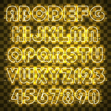 Glowing yellow alphabet with letters from A to Z and digits from 0 to 9. Glowing neon effect. Every letter is separate unit with wires, tubes and holders and can be combined with other.