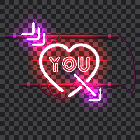 pierce: Glowing red neon heart pierced with purple arrow and letters YOU with holders, brackets and wires isolated on transparent background. Glowing neon effect. Valentines heart. Love and wedding symbol.