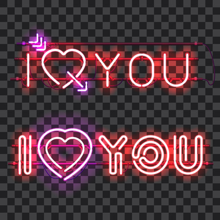 Set of glowing neon signs I LOVE YOU with holders, brackets and wires isolated on transparent background. Shining and glowing neon effect. Valentines heart. Love and wedding symbol. Illustration