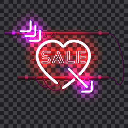 Glowing red neon heart pierced with purple arrow and letters SALE with holders, brackets and wires isolated on transparent background. Glowing neon effect. Valentines heart. Love and wedding symbol.