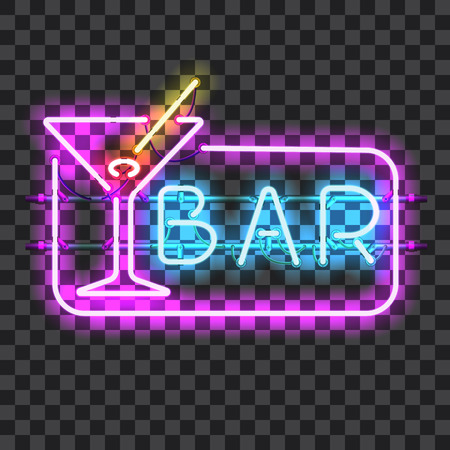 gas lamp: Glowing neon bar sign with martini glass isolated on transparent background. Shining and glowing neon effect. All elements are separate units with wires, tubes, brackets and holders.