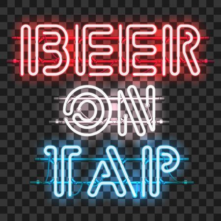 units: Glowing neon bar sign BEER ON TAP isolated on transparent background. Shining and glowing neon effect. All elements are separate units with wires, tubes, brackets and holders.
