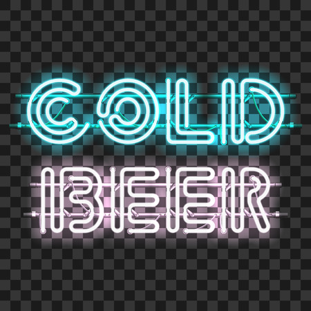 units: Glowing neon bar sign COLD BEER isolated on transparent background. Shining and glowing neon effect. All elements are separate units with wires, tubes, brackets and holders.