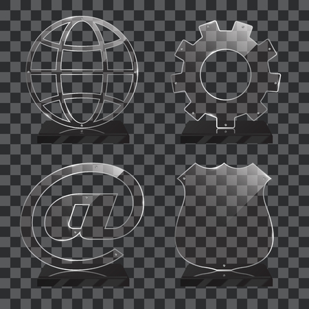 Set of realistic transparent glass trophy awards standing on black base and isolated on gradient background. Different shapes provided. Police shield, cog, planet, internet sign. Vector illustration. Иллюстрация