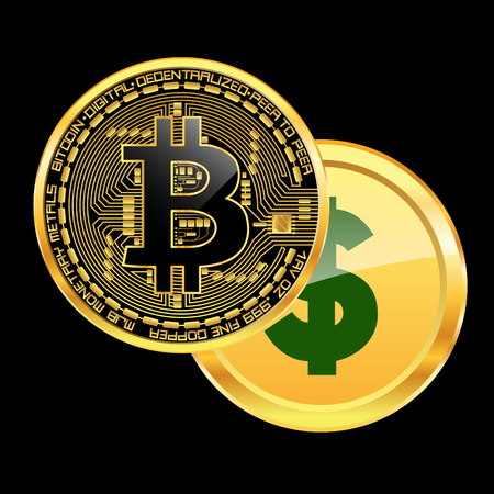 Crypto currency bitcoin beats dollar concept. Vector illustration.  イラスト・ベクター素材