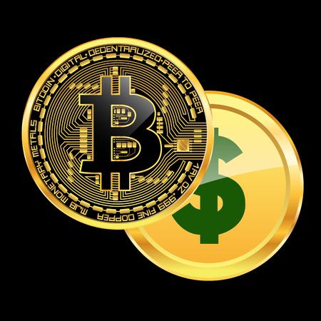 Crypto currency bitcoin beats dollar concept. Vector illustration. Illustration