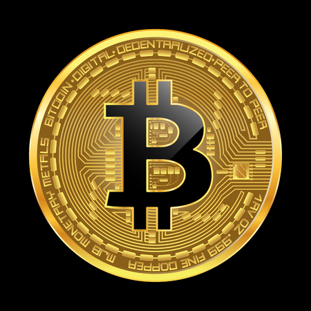 Crypto currency golden coin with black lackered bitcoin symbol on obverse isolated on black background. Vector illustration. Use for logos, print products, page and web decor or other design.