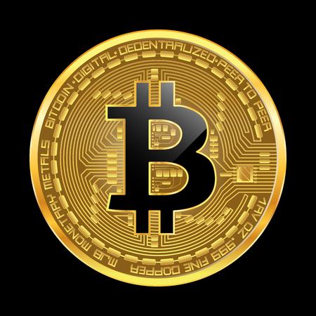Het gouden muntstuk van de Cryptomunt met zwart gelaagd die bitcoinsymbool op obvers op zwarte achtergrond wordt geïsoleerd. Vector illustratie. Gebruik voor logo's, printproducten, pagina- en webdecor of ander ontwerp.