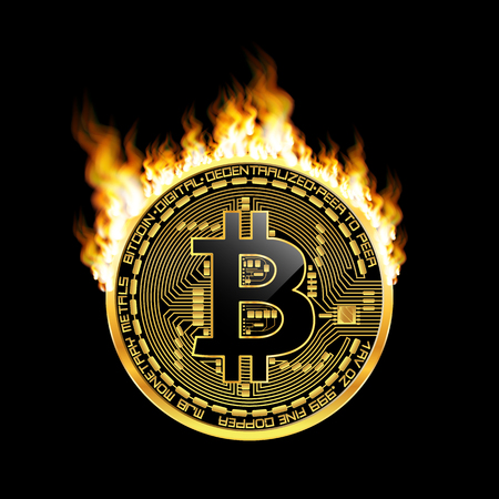 Crypto currency golden coin with black lackered bitcoin symbol on obverse surrounded by realistic flame and isolated on black background. Vector illustration. Use for print products or other design. Illustration