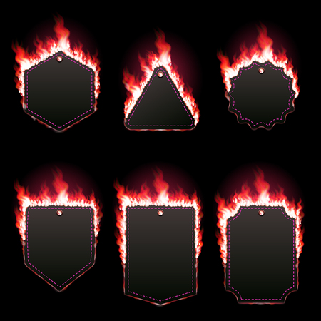 Set of six frames surrounded with red lame