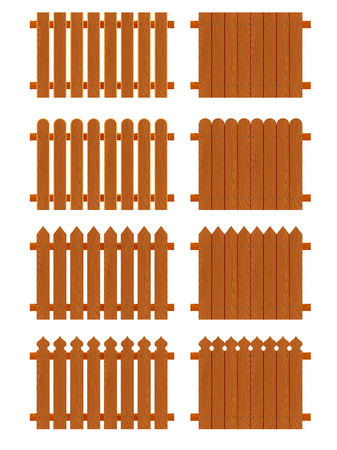stockade: Set of wooden fences sections of different forms isolated on white background. Illustration
