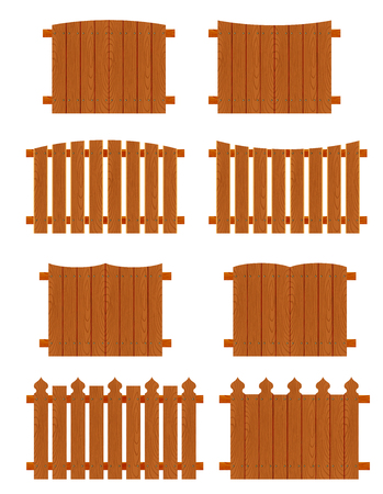 palisade: Wooden fences sections of different forms isolated on white background.