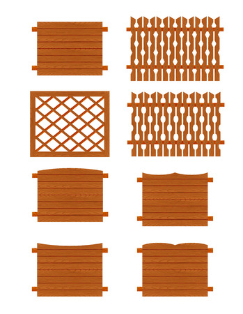 stockade: Fences sections of different forms isolated on white background.