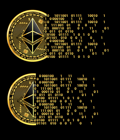 Set of crypto currency golden coins with black lacquered ethereum symbol on obverse isolated on black background. Illustration