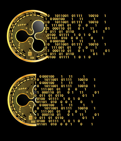 Set of crypto currency golden coins with black lackered ripple symbol on obverse isolated on black background. Vector illustration. Use for logos, print products, page and web decor or other design.
