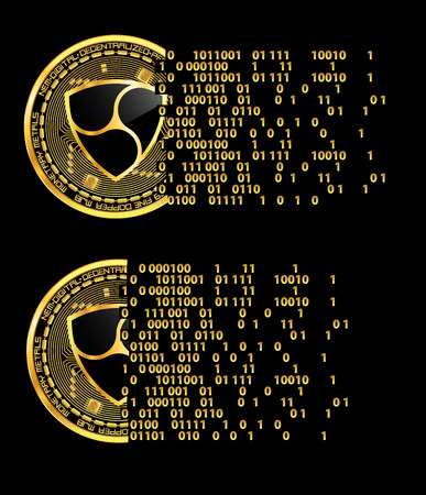Set of crypto currency golden coins with black lackered nem symbol on obverse isolated on black background. Vector illustration. Use for logos, print products, page and web decor or other design.